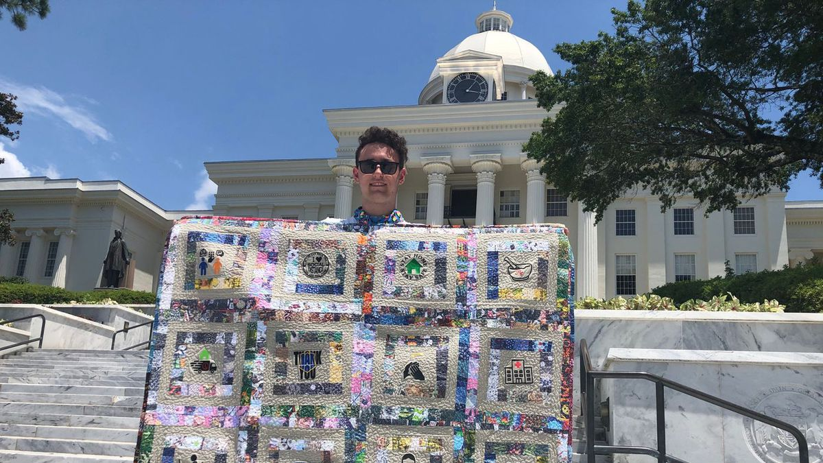 William Stich-Smith is on a cross-country trek to reach the lower 48 state capitols with his quilt, which he created after his school was shut down by the COVID-19 pandemic.