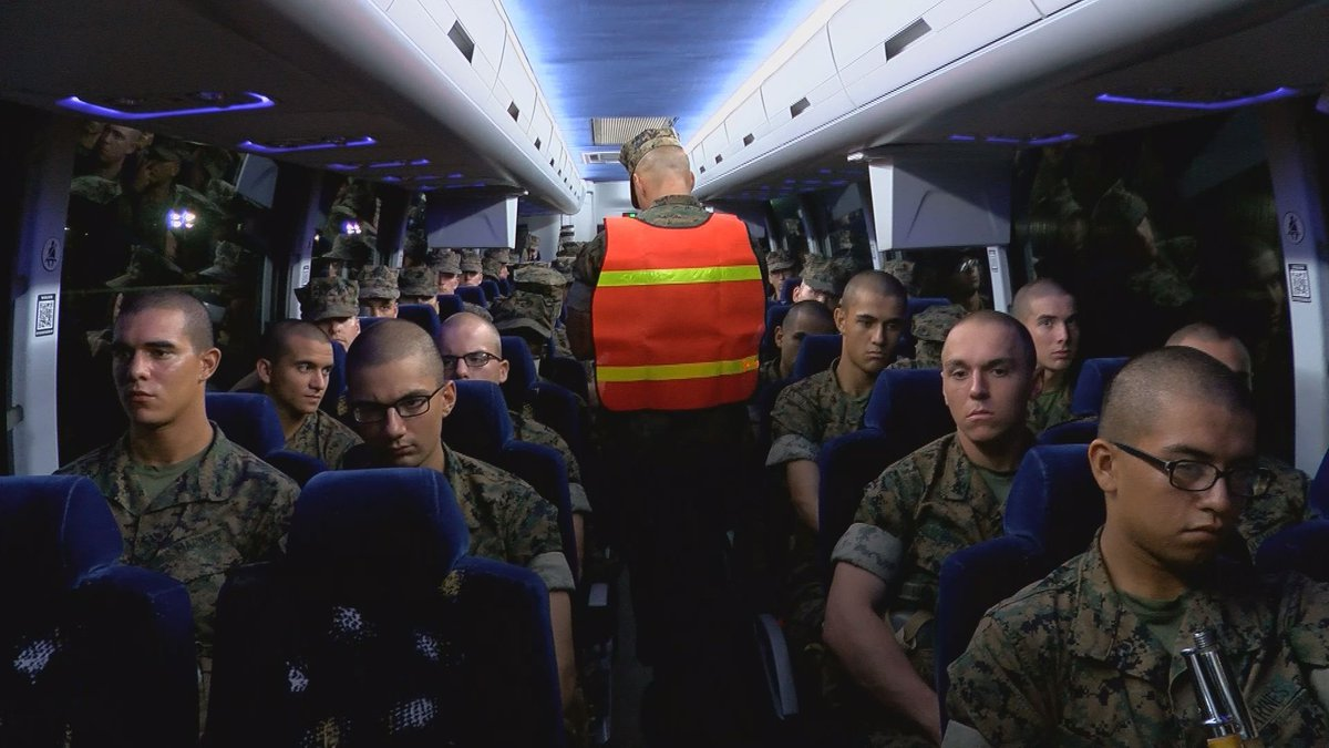Thousands of Marines escaped Hurricane Dorian's path, arriving Tuesday night at the...