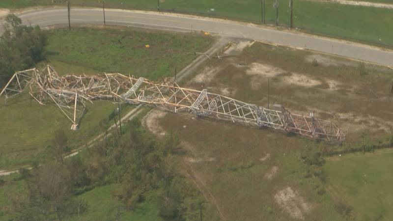 Drone footage shows a major Entergy tower that collapsed during Hurricane Ida.