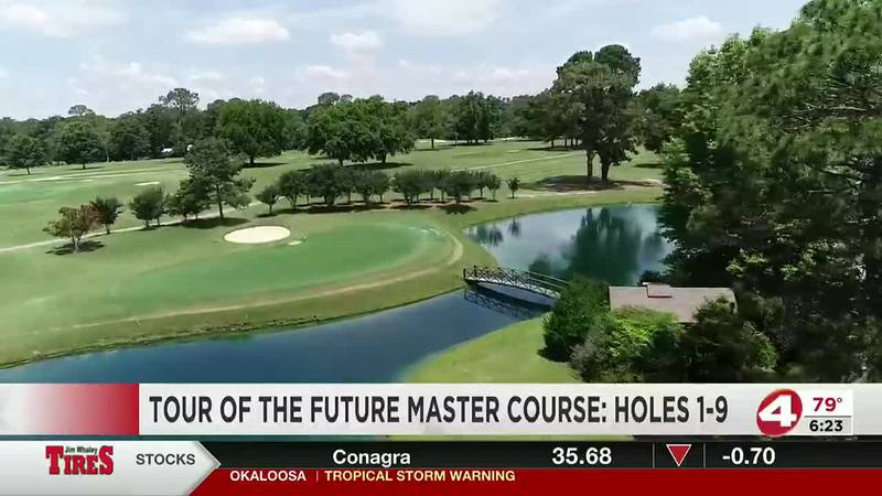 An aerial view of the first nine holes of the Future Masters course