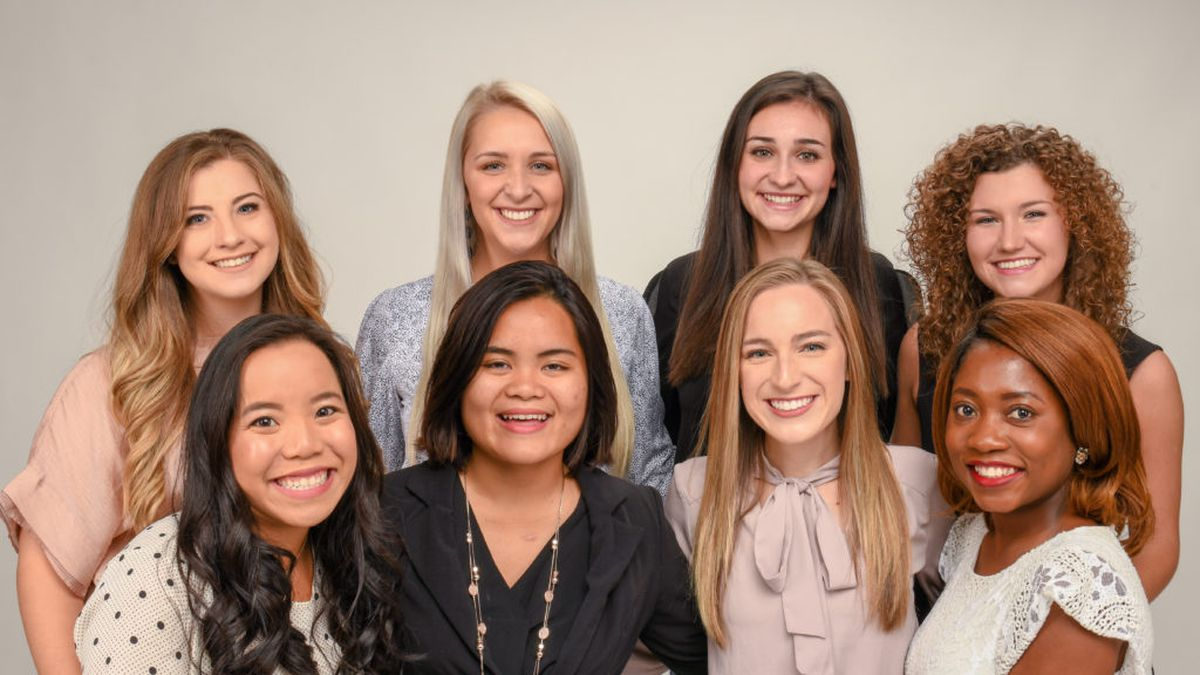 Back Row, L-R: Taylor Holt, Kalle Killough, Emma Shows, and Anna Shay Wasden. Front Row, L-R: Kaitlyn Beyler, Anh Nguyen, Holly Scott and Adebimpe Adefolaju.