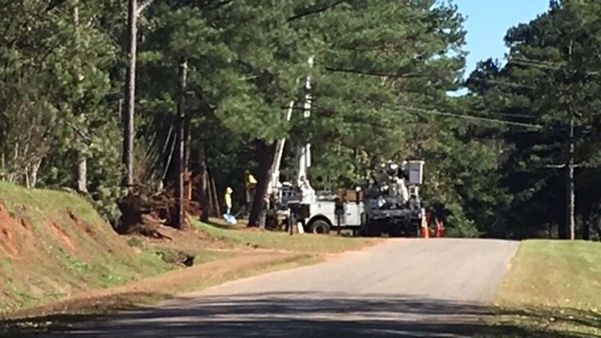 Alabama Power linemen working to restore power in Perry County.