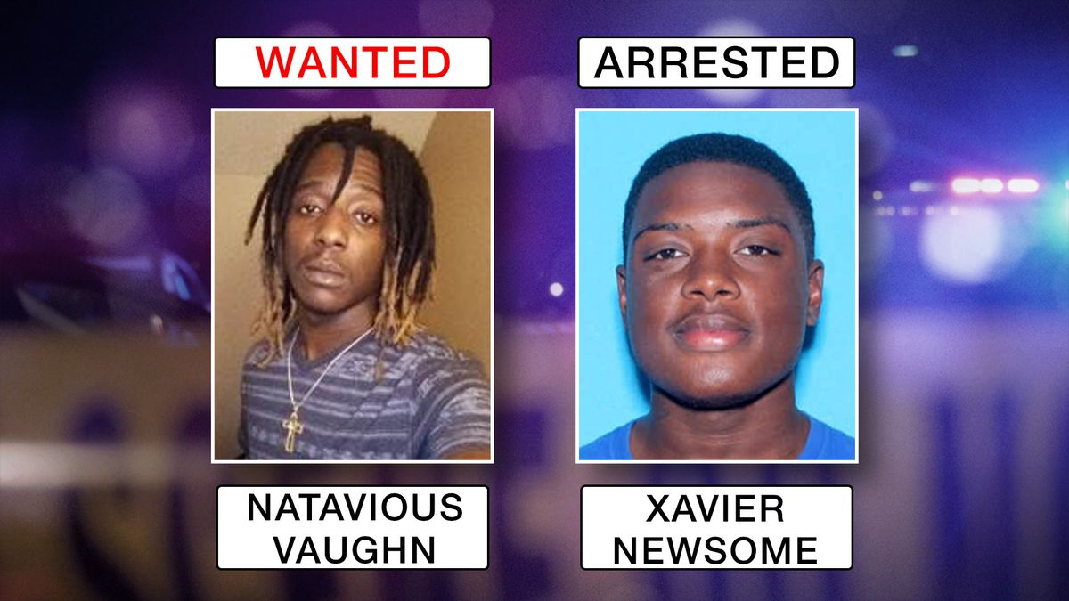 Xavier R. Newsome, 24, was arrested at his home in Daleville on Saturday morning.  Natavious Jamal Antwan Vaughn, 23, also of Daleville is wanted for Capital Murder. Police say Vaughn is considered armed and dangerous. (Source: Ozark Police Department)