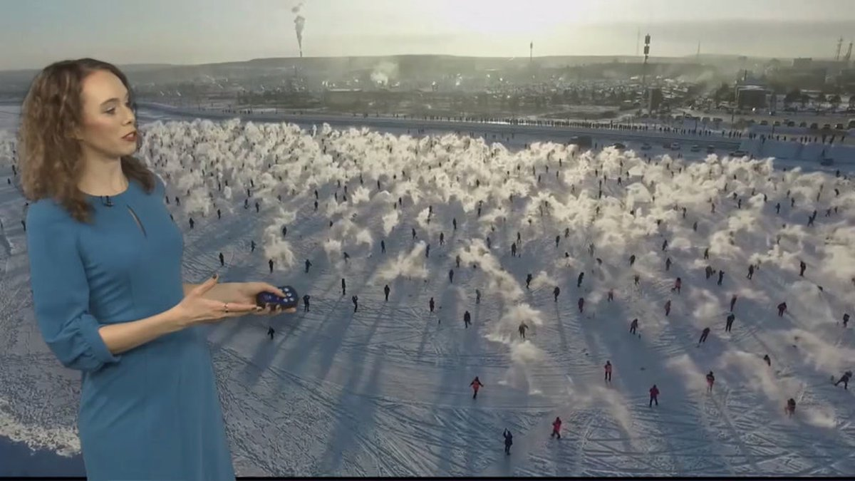 """Over 1,000 local residents and visitors played a """"turning-water-into-ice""""..."""