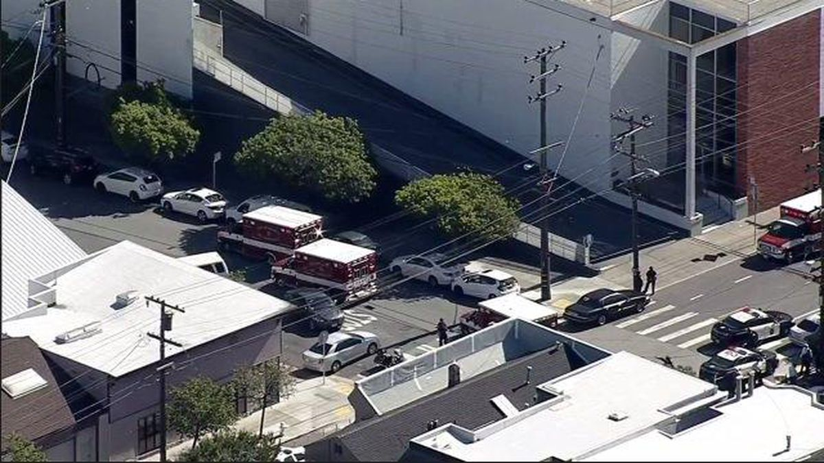 The scene at a San Francisco UPS facility where several were reported wounded in a shooting...