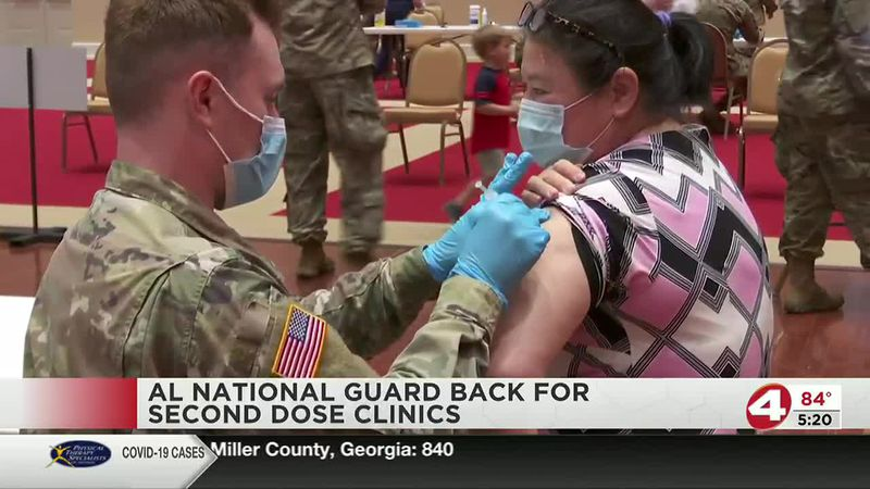 Alabama National Guard administering COVID-19 vaccine