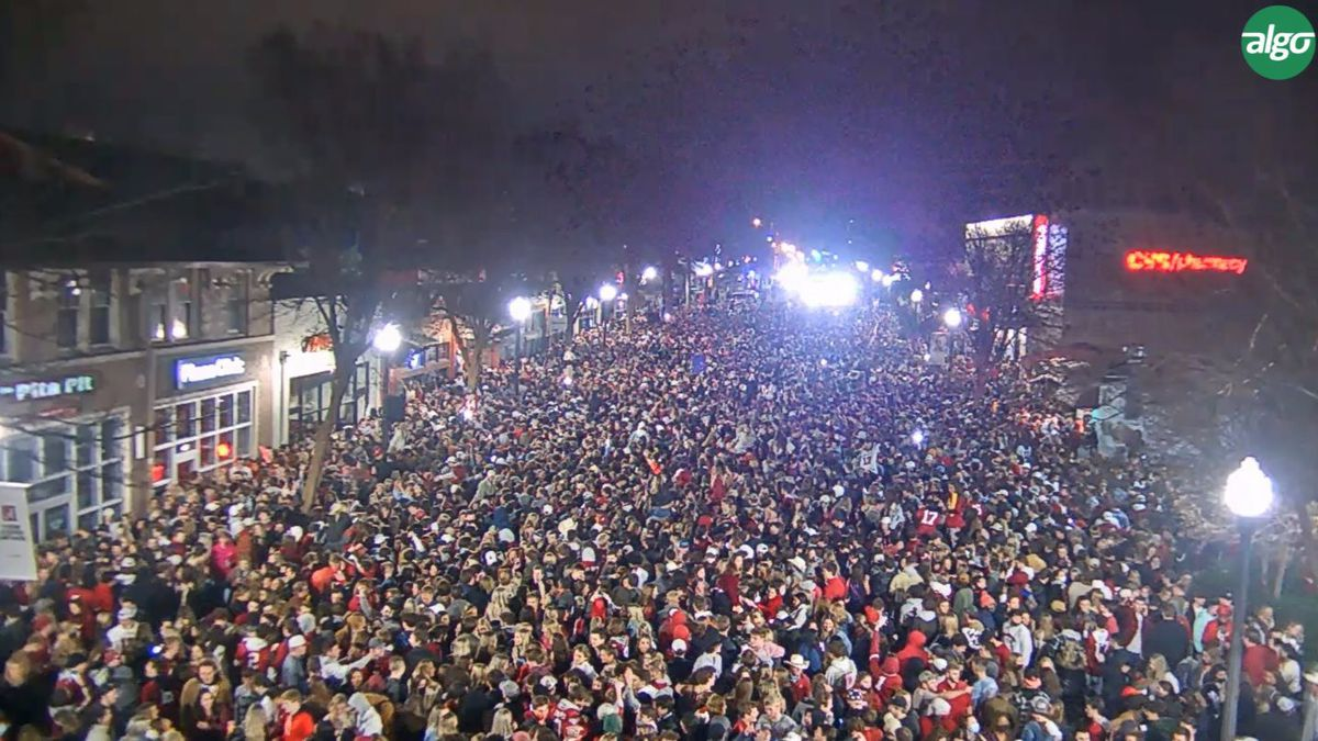 Crowd gathers to celebrate Alabama's National College Football Championship win.