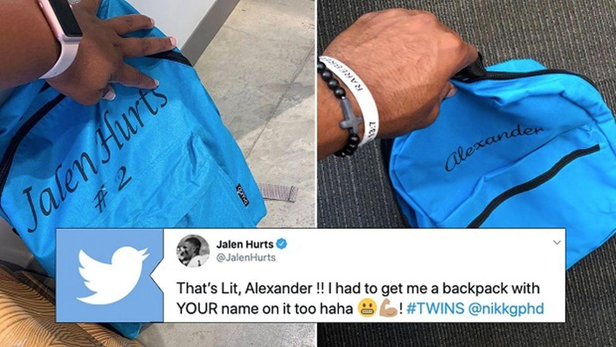 Jalen Hurts gets backpack with Alexander's name