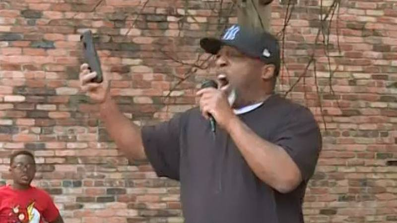 Pastor Kenneth Glasgow speaking at the March for Our Lives rally in Dothan on March 24, 2018.