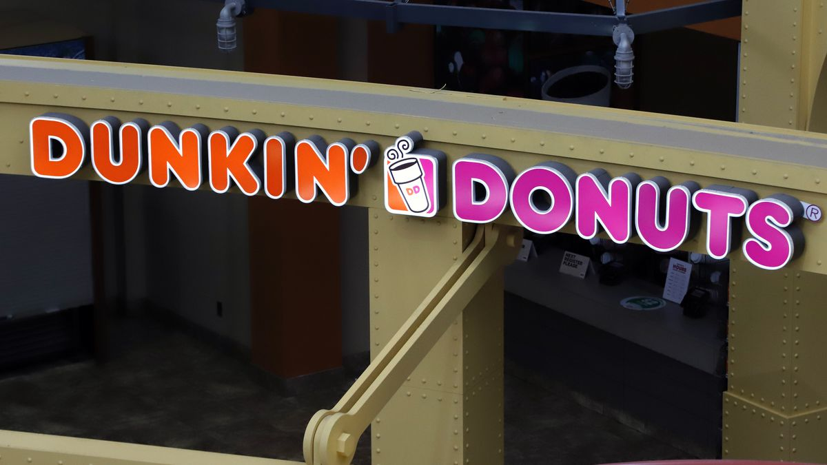 This May 7, 2020, file photo, shows a Dunkin' Donuts at the Greater Pittsburgh International...