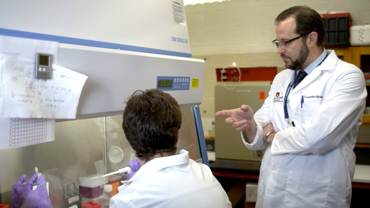 Auburn University's Virologist, Dr. Constantinos Kyriakis, DVM, PhD, is testing one...