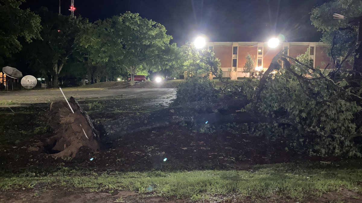 Trees are down all across Pike County including the campus of Troy University. (Ryan Kay/Twitter)