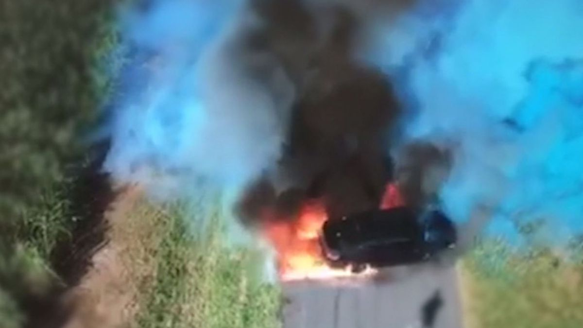 Queensland, Australia police have released drone video of a gender reveal gone bad last year when a car erupted in flames on the Gold Coast. (Source: Queensland police/CNN)