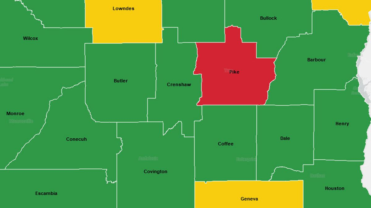 """Pike County has been labeled """"red"""" or very high risk. The county is one of only two in the..."""