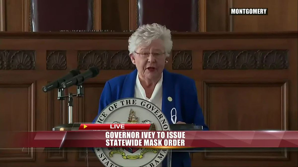 Alabama Governor Kay Ivey speaking at a July 15, 2020 press conference.