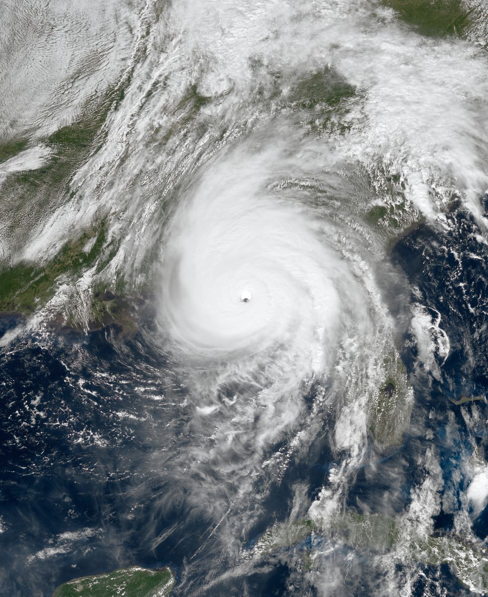 Hurricane Michael beginning to make landfall on the Florida Panhandle on October 10, 2018, near...