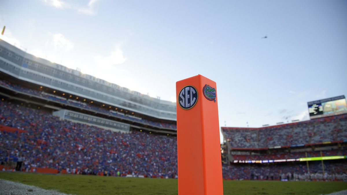 A pylon stands in the corner of an end zone at Ben Hill Griffin Stadium before an NCAA college...