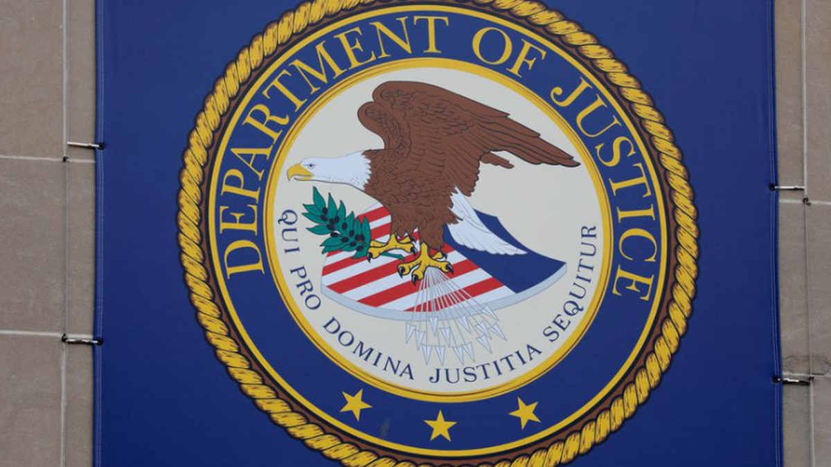 The crest of the United States Department of Justice is seen at their headquarters in...