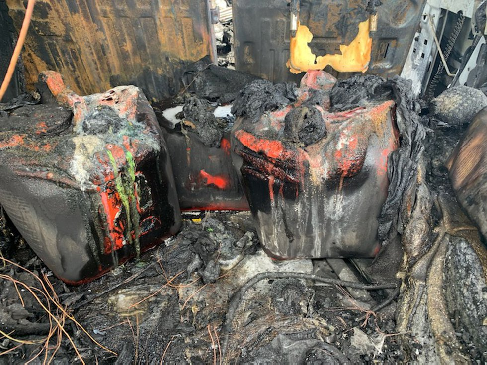 Gasoline containers melted after a Hummer H2 caught fire Wednesday in Citrus County.