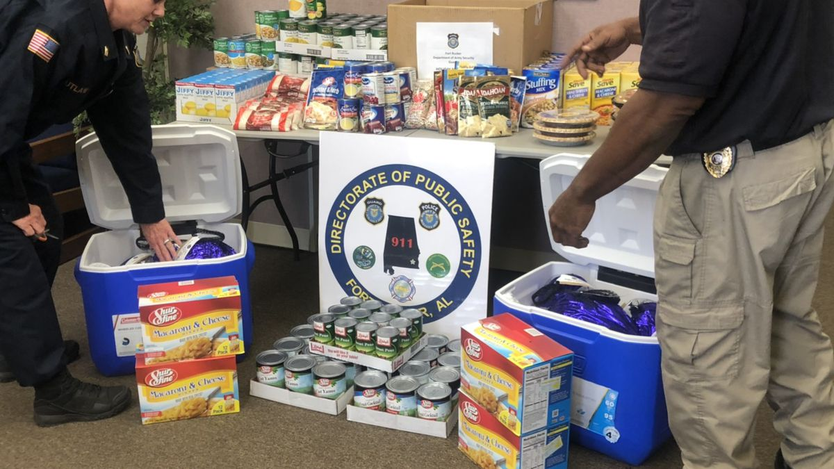For the past month, Fort Rucker's security guards collected Thanksgiving dinner items. (Source: WTVY)