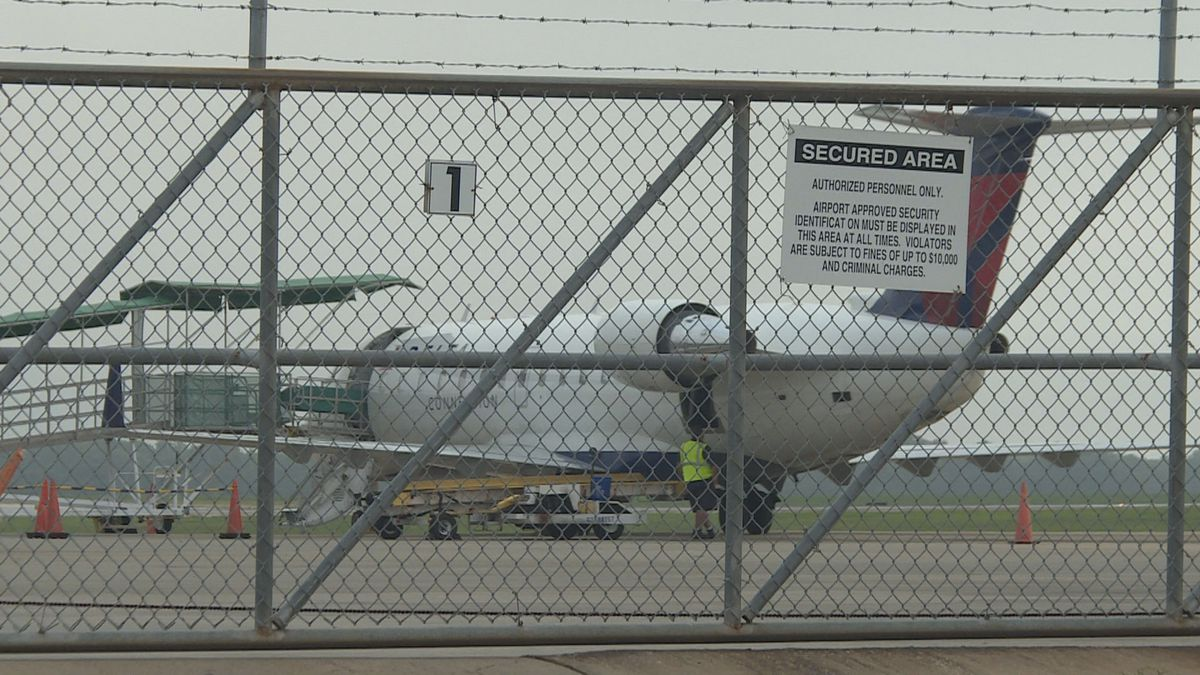A Delta Connection aircraft sits  at Dothan Airport after making emergency landing on July 11, 2019.