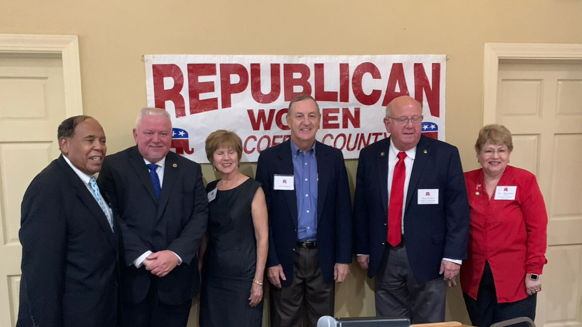 Enterprise mayor and candidates with officials of the Republican Women of Coffee County