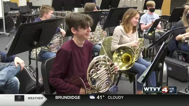 Iain Riordan playing the French Horn
