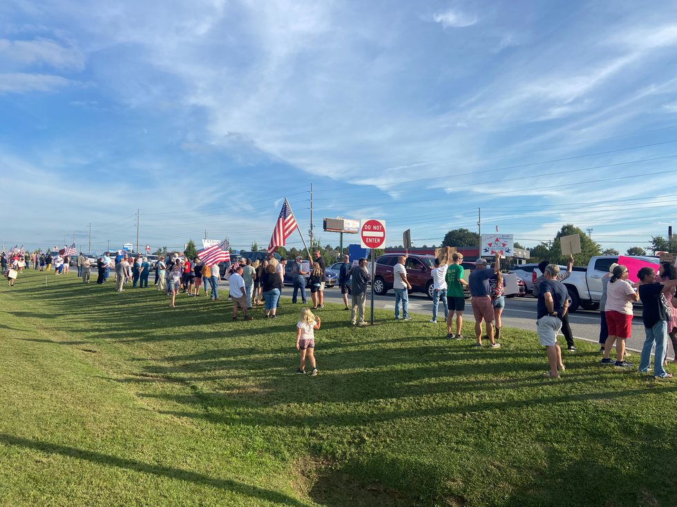 A rally is underway near Flowers Hospital in Dothan against a vaccine mandate for health care...