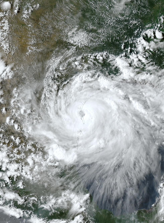 Hurricane Hanna making landfall on Padre Island, Texas on July 25, 2020.