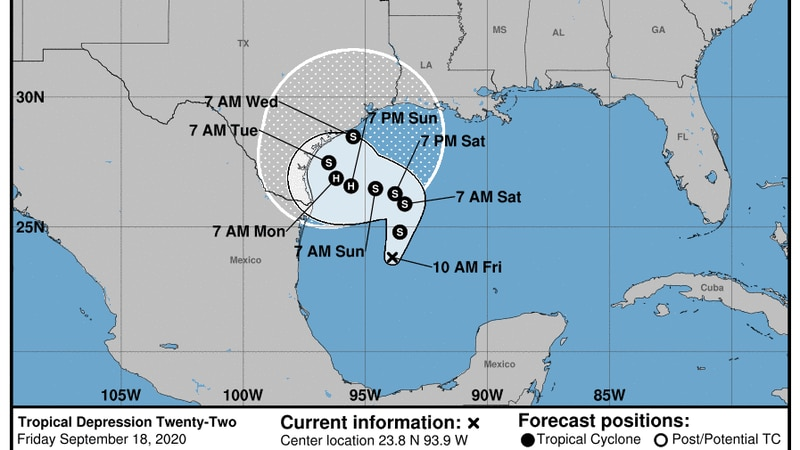 Tropical Depression 22 expected to intensify as it heads toward Gulf Coast.