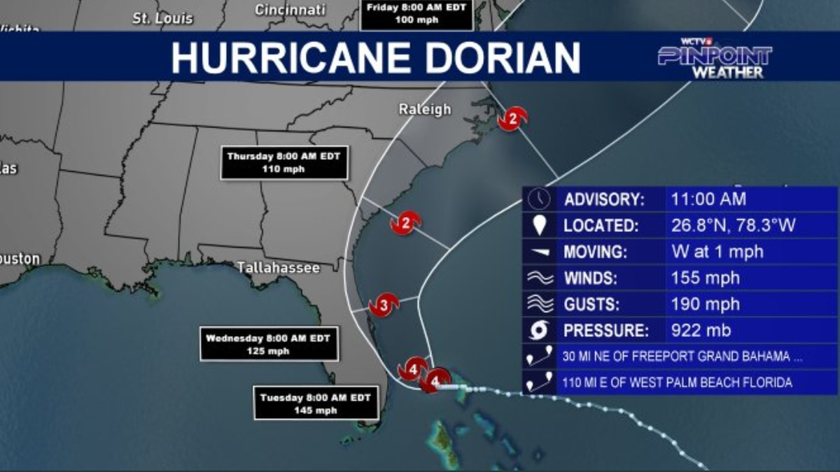 Hurricane Dorian becomes a Category 4 hurricane in the 11 am advisory
