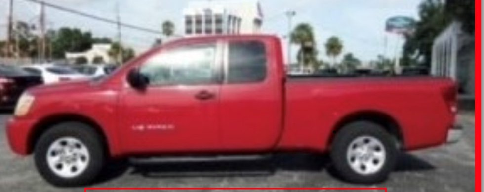 2007 Nissan Red Pickup Truck