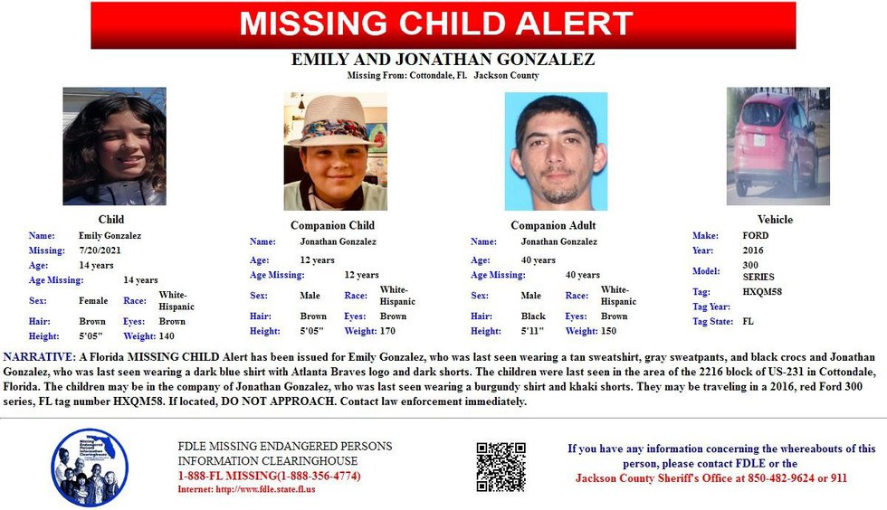 Two kids are missing from Jackson County.