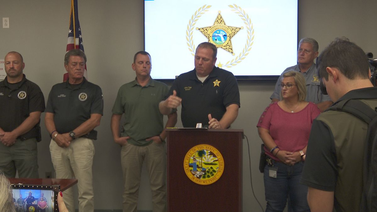 Holmes County Sheriff John Tate and other law enforcement officers announce three arrests in death of Raul Guillen on August 26, 2020.