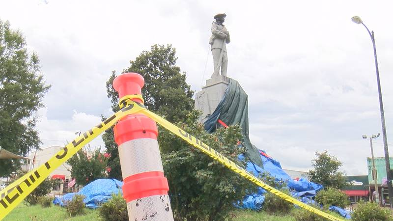 The monument was cut with an electric saw on July 7.