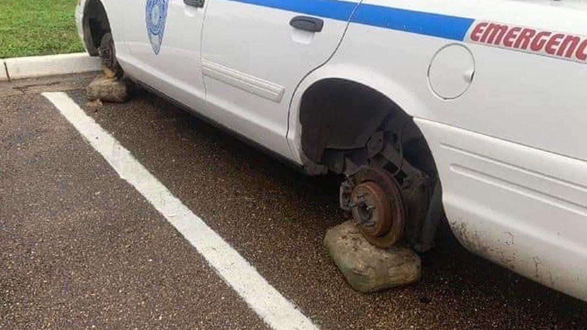 Tires taken from JPD Training Academy. (SOURCE: WLBT Viewer)