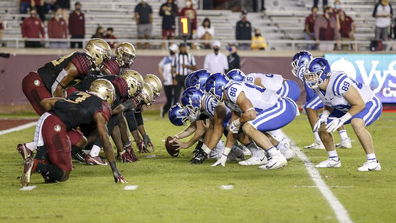 TALLAHASSEE, FL - December 12: A general view of the line of scrimmage of the Florida State...