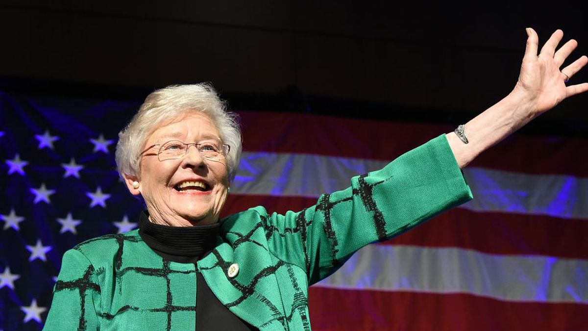 Alabama Gov. Kay Ivey greets her supporters in Montgomery after being elected as Alabama's first female Republican governor. (Joe Songer | jsonger@al.com).