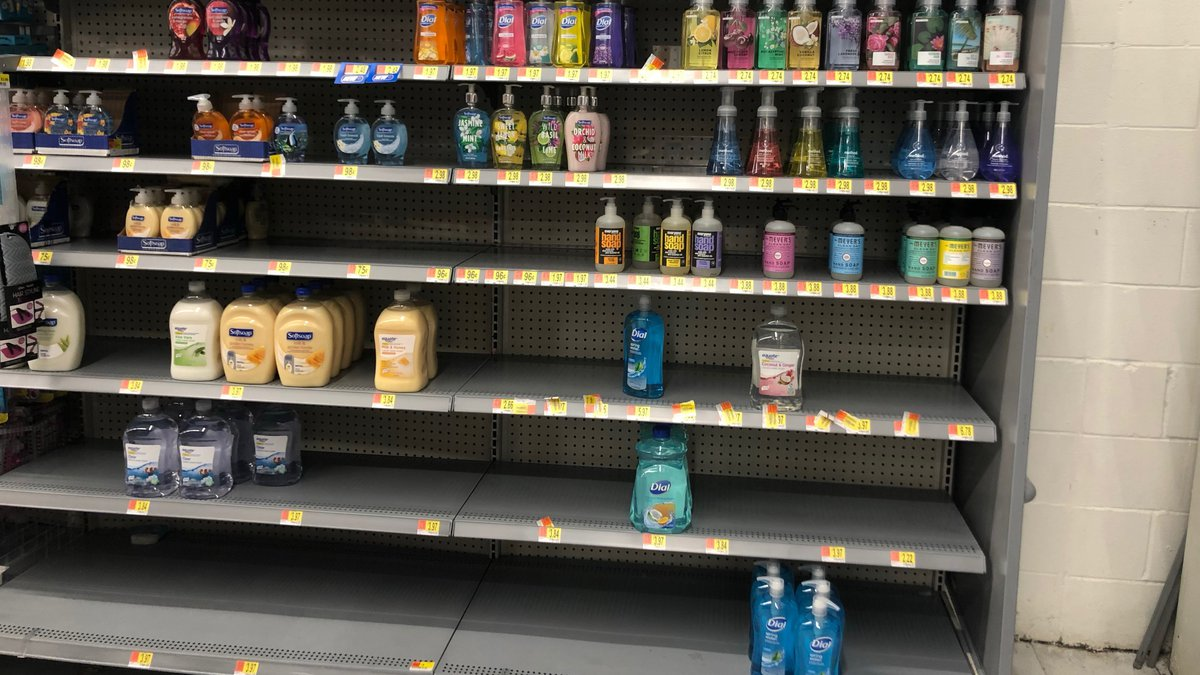 Hand soap and sanitizer isle at the Walmart in Enterprise