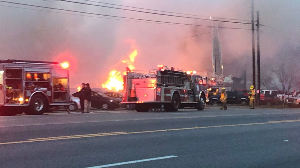 Multiple fire departments worked the large fire at a used car sale business in Brundidge.