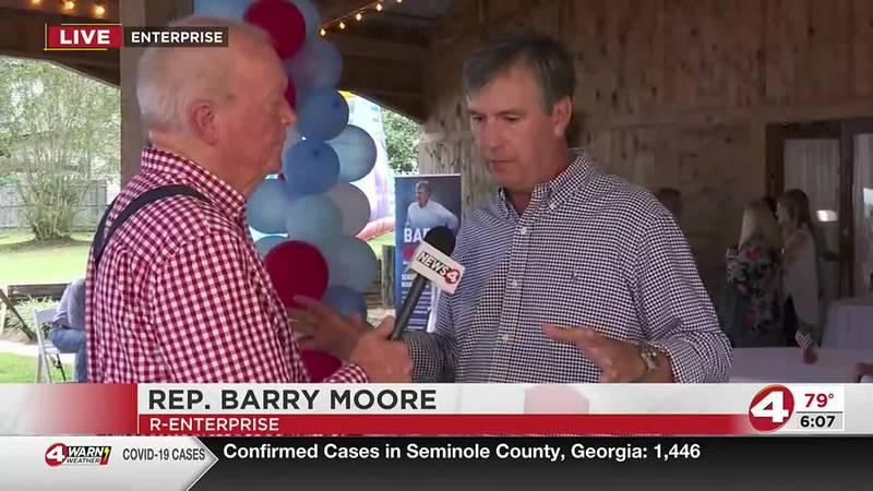 U.S. Congressman Barry Moore (R-Enterprise) announces his reelection bid for a second term in...