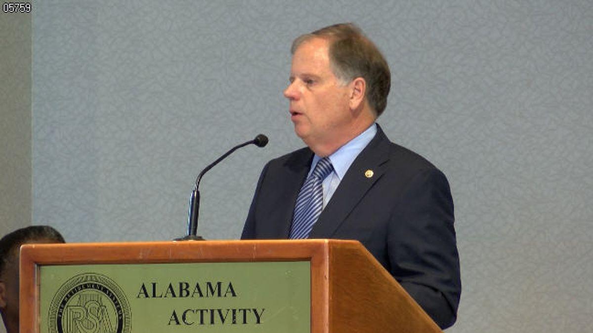 Senator Doug Jones speaks on a wide range of topics at Montgomery Chamber of Commerce's Eggs and Issues Breakfast. (Source: WSFA)
