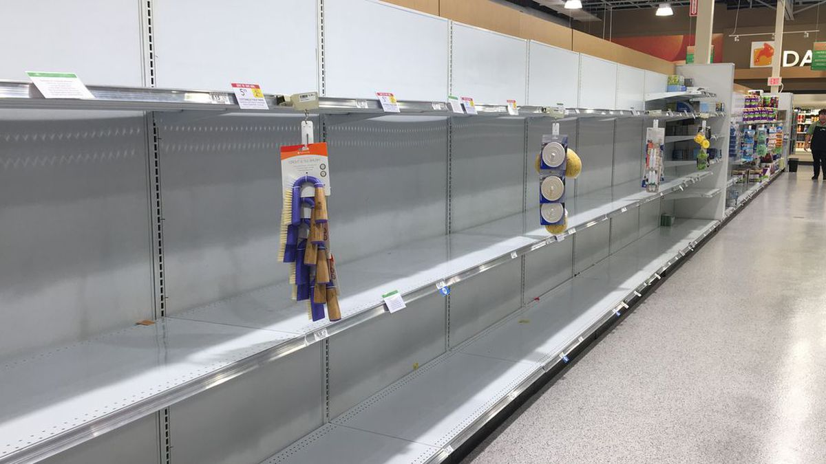 Store shelves have emptied quickly due to the threat of the coronavirus.