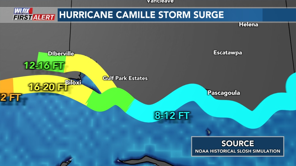NOAA Historical SLOSH storm surge model simulation of Hurricane Camille's storm surge in...