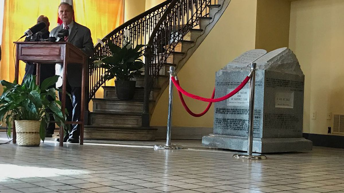 Judge Roy Moore and his wife, Kayla, are placing the monument on the first floor of the Foundation for Moral Law, which he founded and she runs as its president. (Source: WSFA)