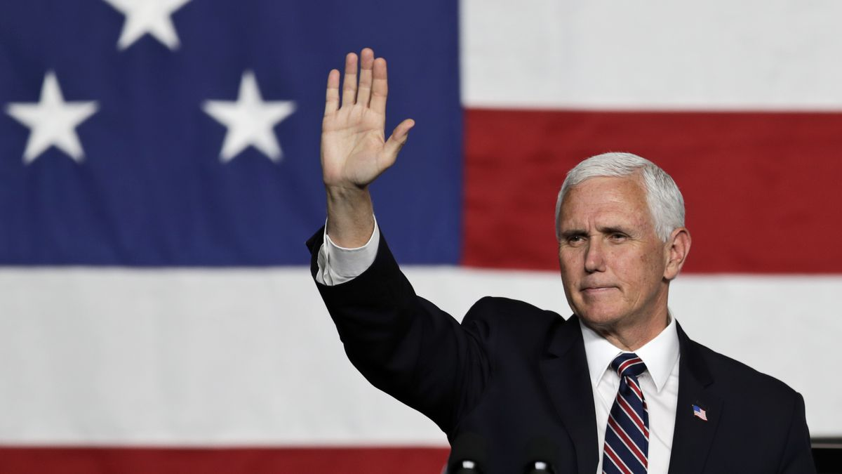 Vice President Mike Pence waves to supporters after speaking at the launch of the electric Endurance pickup truck at Lordstown Motors Corporation, Thursday, June 25, 2020, in Lordstown, Ohio.