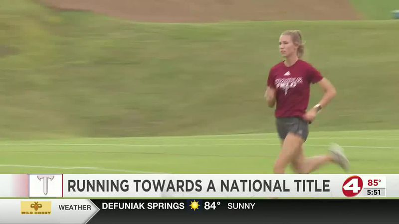 Troy's Gemma Finch running towards a national title