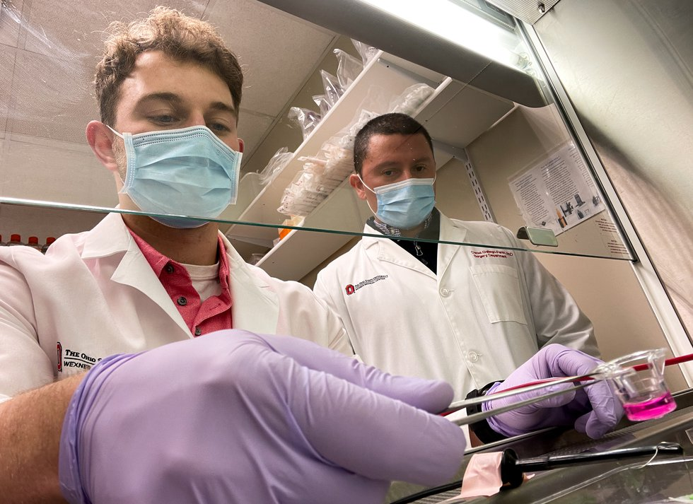 From left, researchers Luke Lemmerman and Daniel Gallego-Perez helped develop a new cell...
