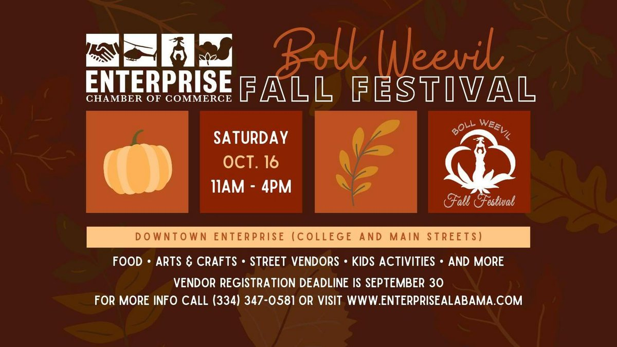 The Enterprise Chamber of Commerce will be hosting the annual Boll Weevil Fall Festival on...