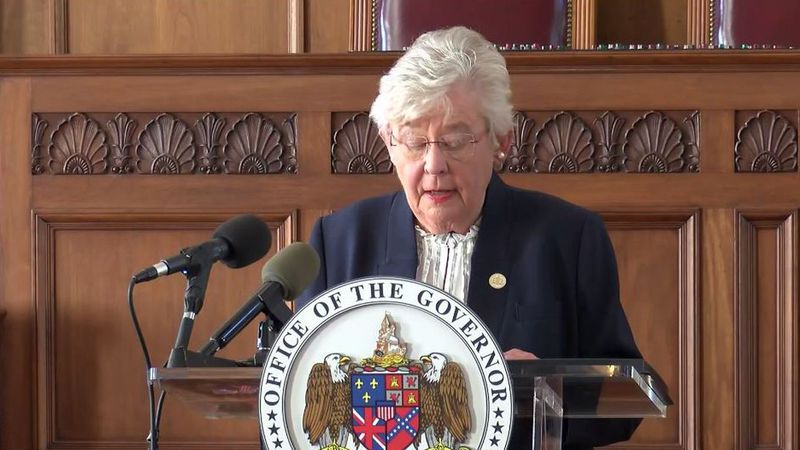 FILE PHOTO - Alabama Governor Kay Ivey speaks at a press conference on the state's response to...
